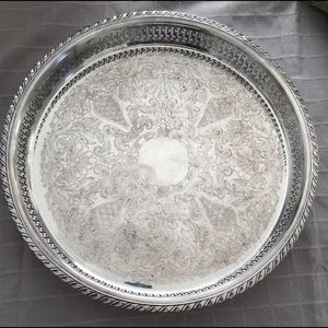 """WM A Rogers 3 Footed 15"""" Gallery Tray Silverpate"""
